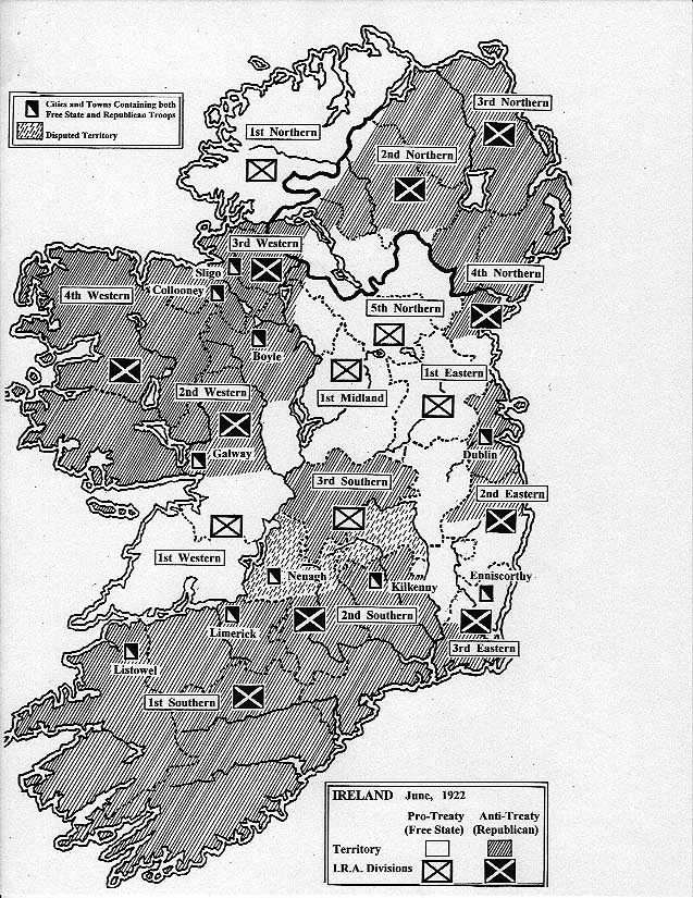 """irish civil war The irish civil war was fought between the national army (pro-treaty) led by general michael collins and the so called """"irregulars"""" (anti-treaty) led by eamon de valera the civil war began as a dispute that arose over the terms of the anglo-irish treaty that was signed in 1921."""